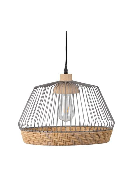 Lámpara de techo Birdy, Pantalla: ratán, metal, Fijación: madera de caucho, Anclaje: metal pintado, Cable: plástico, Pantalla: ratán, gris claro Fijación: madera de caucho, Ø 38 x Al 27 cm