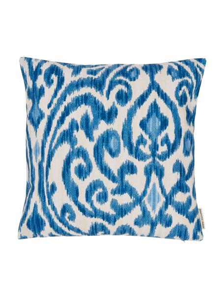 Funda de cojín de lino Ikat Floral, 60%lino, 40%algodón, Azul, blanco, An 45 x L 45 cm