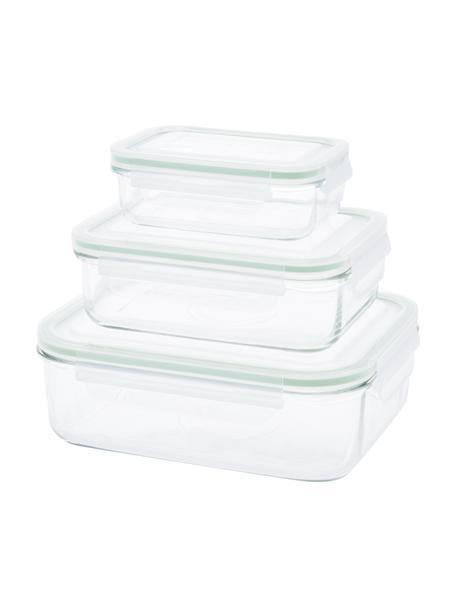 Set de recipientes herméticos Alma, 3uds., Recipiente: vidrio templado, libre de, Transparente, verde claro, Set de diferentes tamaños