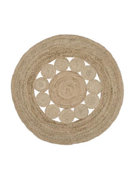 Alfombra redonda artesanal de yute Tapu, estilo boho, 100%yute, Beige, Ø 150 cm (Tamaño M)