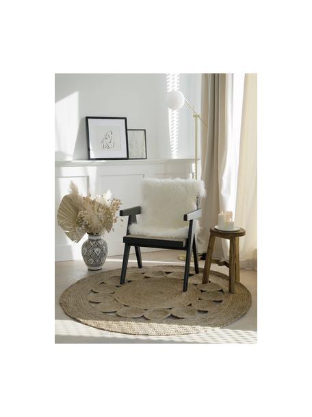 Rond juten vloerkleed Tapu in boho stijl, handgemaakt, 100% jute, Beige, Ø 150 cm (maat M)