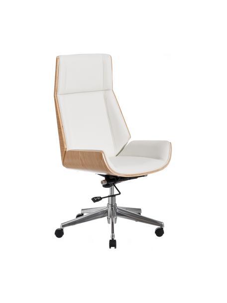 Krzesło biurowe Dingo, obrotowe, Tapicerka: sztuczna skóra (poliureta, Stelaż: płyta wiórowa, Nogi: metal, Biały, beżowy, S 66 x G 65 cm