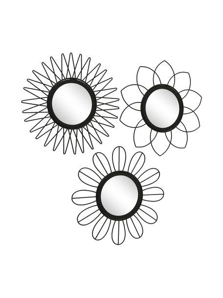 Set 3 specchi da parete con cornice in metallo nero Naima, Cornice: metallo rivestito, Superficie dello specchio: lastra di vetro, Nero, Ø 27 cm x Prof. 2 cm