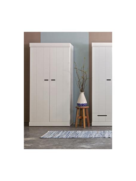 Kledingkast Connect met 2 deuren in wit, Frame: massief grenenhout, gelak, Handvatten: gelakt metaal, Wit, 94 x 195 cm