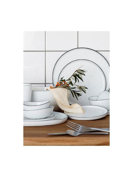Ręcznie wykonana misa Salt, 2szt., Porcelana, Złamana biel, czarny, Ø 20 x W 4 cm