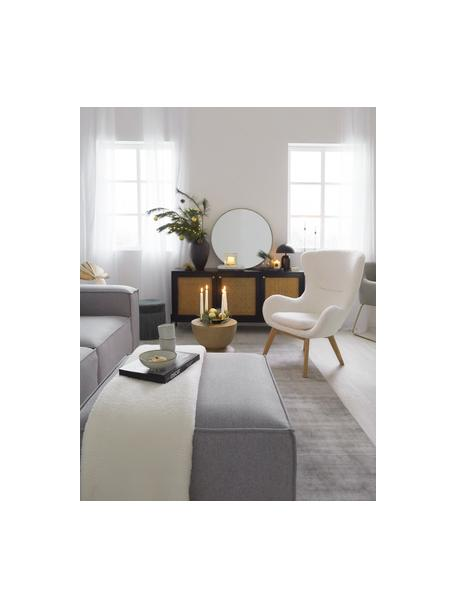 Sofa-Hocker Lennon in Hellgrau, Bezug: Polyester Der hochwertige, Gestell: Massives Kiefernholz, Spe, Webstoff Hellgrau, 88 x 43 cm