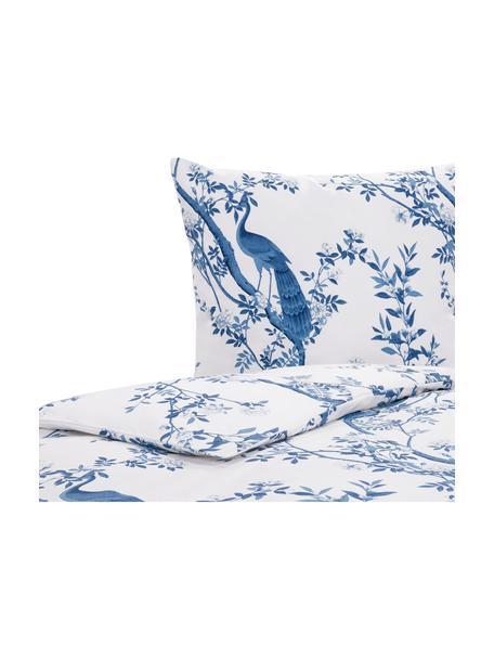 Parure copripiumino in percalle Annabelle, Blu, bianco, 155 x 200 cm