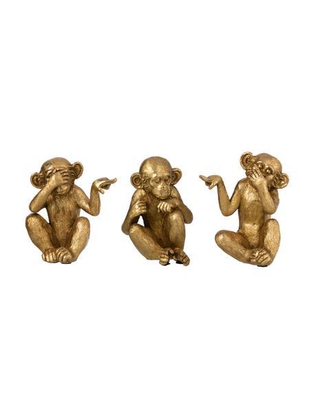 Decoratieve objectenset Ape, 3-delig, Kunststof, Goudkleurig, Set met verschillende formaten