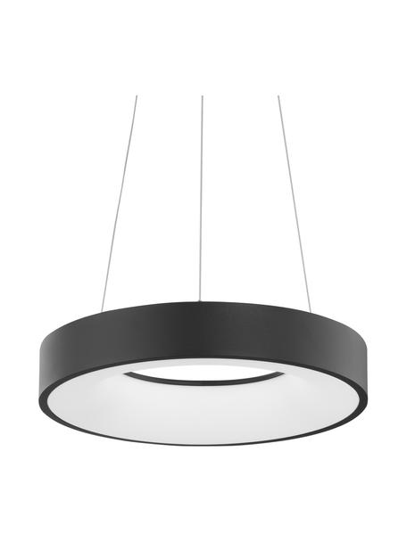 Dimbare LED hanglamp Rando in zwart, Lampenkap: gecoat aluminium, Diffuser: acryl, Baldakijn: gecoat aluminium, Zwart, Ø 38 x H 6 cm