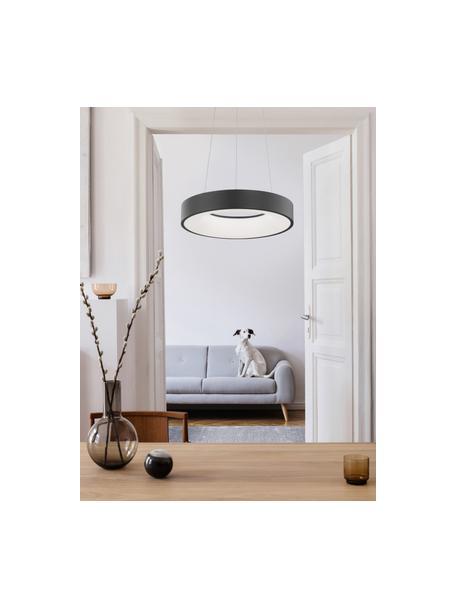 Dimmbare LED-Pendelleuchte Rando in Schwarz, Lampenschirm: Aluminium, beschichtet, Baldachin: Aluminium, beschichtet, Schwarz, Ø 38 x H 6 cm