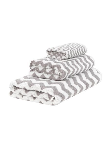 Set 3 asciugamani con motivo a zigzag Liv, Grigio, bianco crema, Set in varie misure