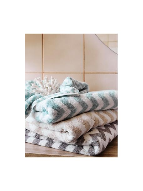 Handdoekenset Liv met zigzag patroon, 3-delig, Taupe, crèmewit, Set met verschillende formaten