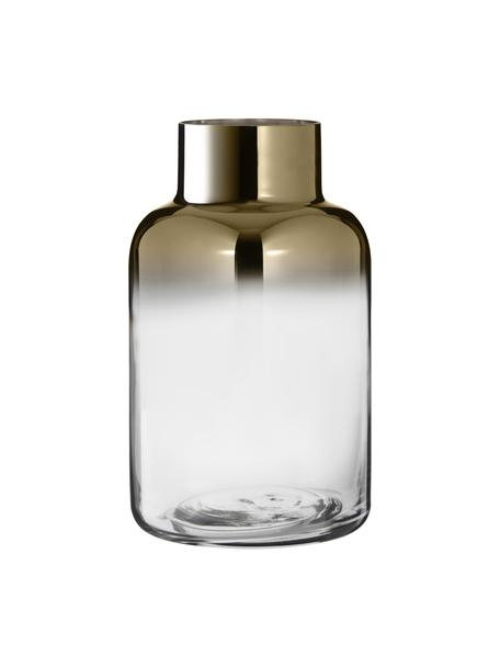 Mondgeblazen vaas Uma, Glas, Transparant, goudkleurig, Ø 16 x H 27 cm