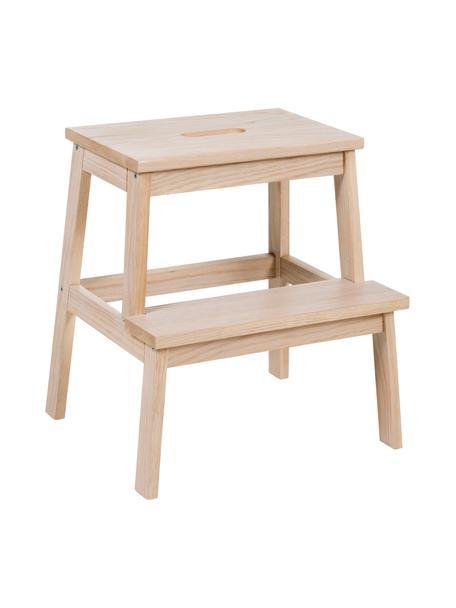 Stołek z drewna ze schodkiem Confetti, Drewno dębowe, Drewno dębowe, S 43 x W 47 cm