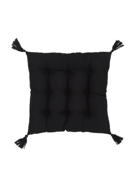 Cuscino sedia nero con nappe Ava, Rivestimento: 100% cotone, Nero, Larg. 40 x Lung. 40 cm