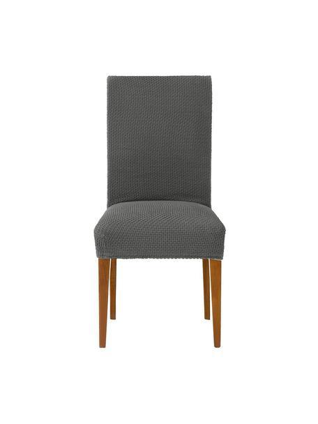 Fundas para silla Cora, 2 uds., 55% poliéster, 30% algodón, 15% elastomero, Gris, An 40 x Al 55 cm