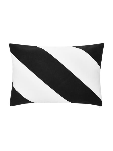Gestreifte Kissenhülle Ren in Schwarz/Weiß, 100% Baumwolle, Weiß, Schwarz, 30 x 50 cm