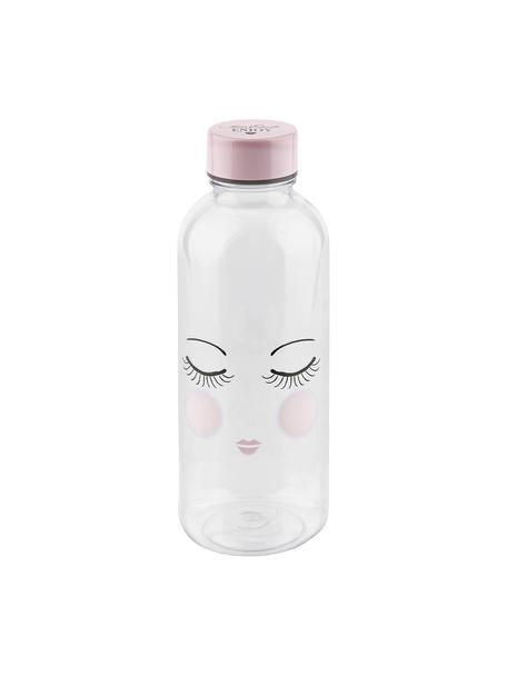Bottiglia Les Yeux, Materiale sintetico, privo di BPA e ftalati, Bottiglia: trasparente, rosa, nero Coperchio: rosa, Ø 8 x Alt. 21 cm