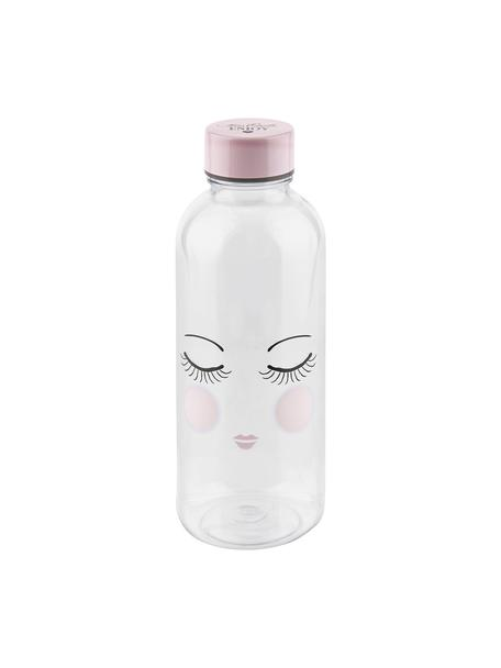 Drinkfles Les Yeux, Kunststof, vrij van BPA en ftalaten, Fles: transparant, roze, zwart. Deksel: roze, Ø 8 x H 21 cm