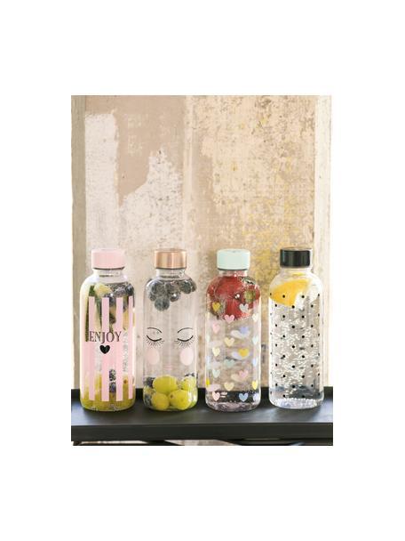 Trinkflasche Les Yeux, Kunststoff, frei von BPA und Phthalaten, Flasche: Transparent, Rosa, Schwarz Deckel: Rosa, Ø 8 x H 21 cm