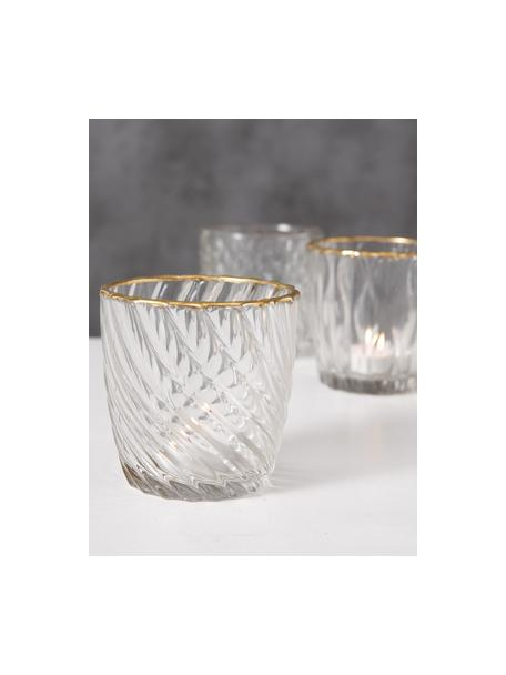 Waxinelichthoudersset Adore, 3-delig, Gelakt glas, Transparant, goudkleurig, Ø 9 x H 9 cm