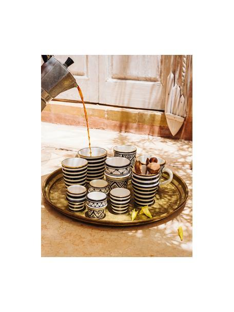 Handgemachter marokkanischer Becher Beldi mit Goldrand, Keramik, Schwarz, Cremefarben, Gold, Ø 8 x H 11 cm