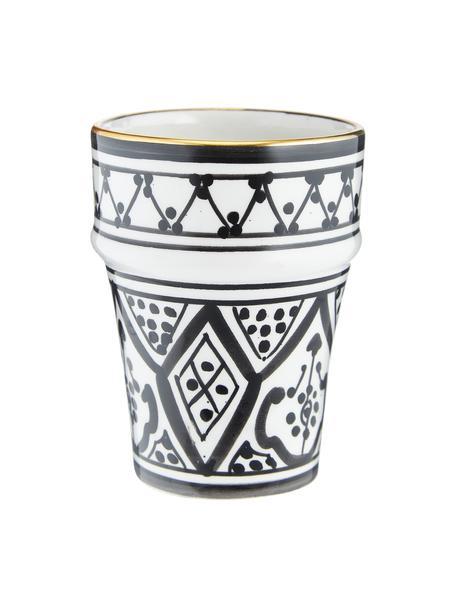 Taza artesanal Beldi, estilo marroquí, Cerámica, Negro, crema, oro, Ø 8 x Al 11 cm