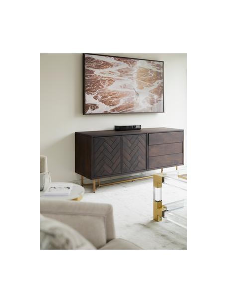 Aparador de madera maciza Luca, Estructura: madera de mango maciza, Patas: metal recubierto, Marrón oscuro, An 160 x Al 70 cm