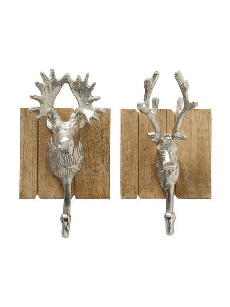 Wandhaken-Set Alfo in Silber H 22 cm, 2 Stück, Haken: Aluminium, Mangoholz, Aluminium, 22 x 9 cm