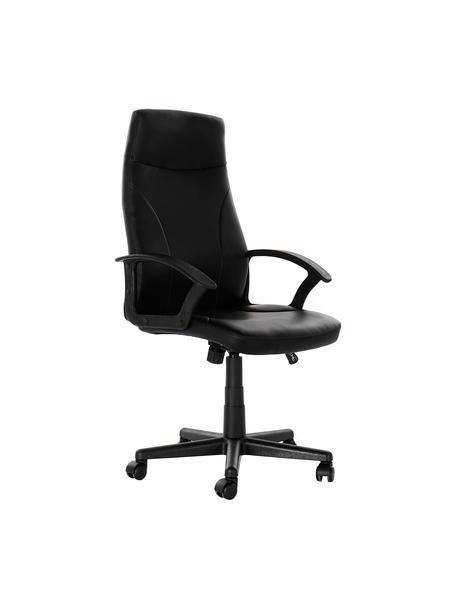 Krzesło biurowe Gino, obrotowe, Tapicerka: sztuczna skóra (poliureta, Nogi: metal powlekany, Czarny, S 61 x G 61 cm