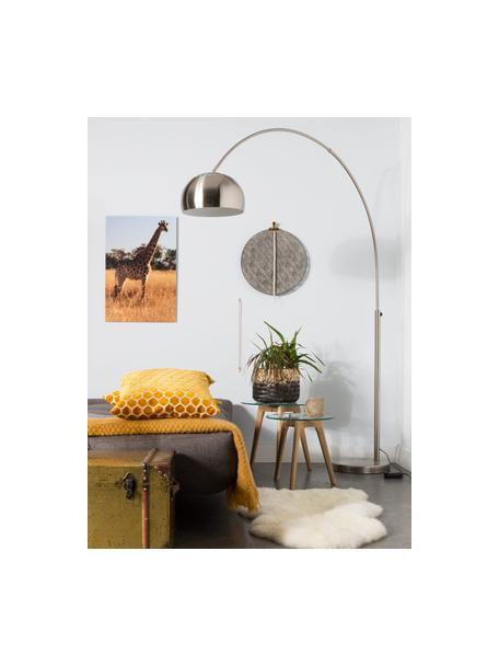 Grote booglamp Metal Bow in zilverkleur, Lampenkap: geborsteld metaal, Frame: geborsteld metaal, Lampvoet: steen met verzilverd meta, Metaalkleurig, 170 x 205 cm