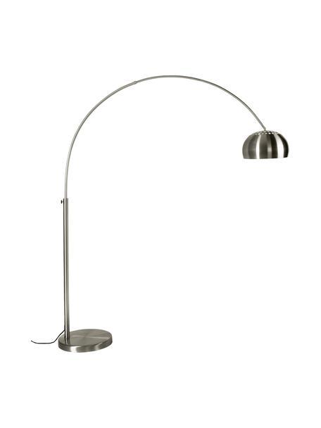 Duża lampa podłogowa w kształcie łuku Metal Bow, Stelaż: metal szczotkowany, Metal, S 170 x W 205 cm