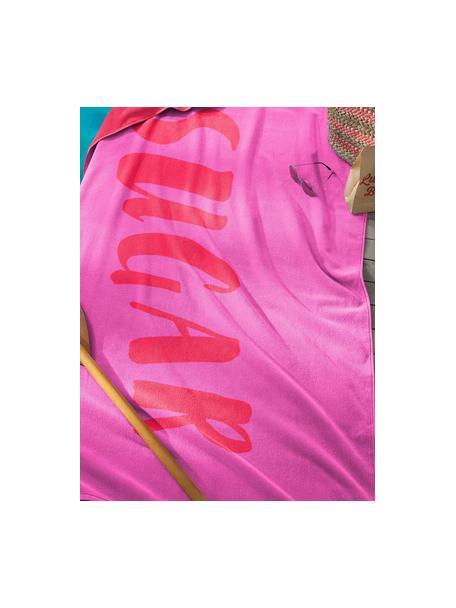 Toalla de playa Sugar, Parte delantera: terciopelo (algodón), Reverso: afelpado (algodón), Rosa, rojo, An 100 x L 180 cm