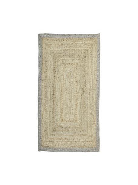 Handgemaakt juten vloerkleed Shanta met duifblauwe rand, 100% jute, Beige, blauw, B 80 x L 150 cm (maat XS)