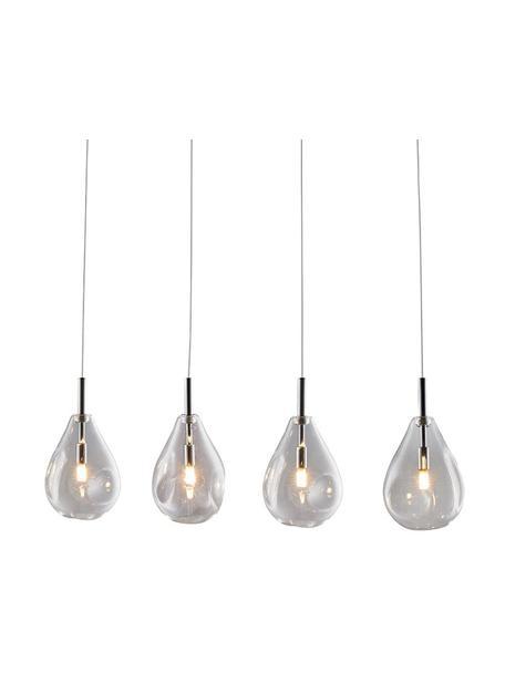 Hanglamp Bastoni van glas, Decoratie: metaal, Baldakijn: metaal, Chroomkleurig, transparant, 75 x 120 cm