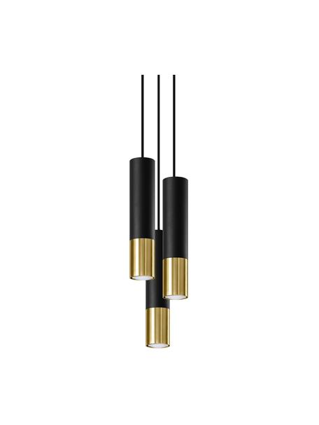 Kleine Cluster-Pendelleuchte Longbot in Schwarz-Gold, Lampenschirm: Stahl, beschichtet, Baldachin: Stahl, beschichtet, Schwarz, Goldfarben, Ø 15 x H 30 cm