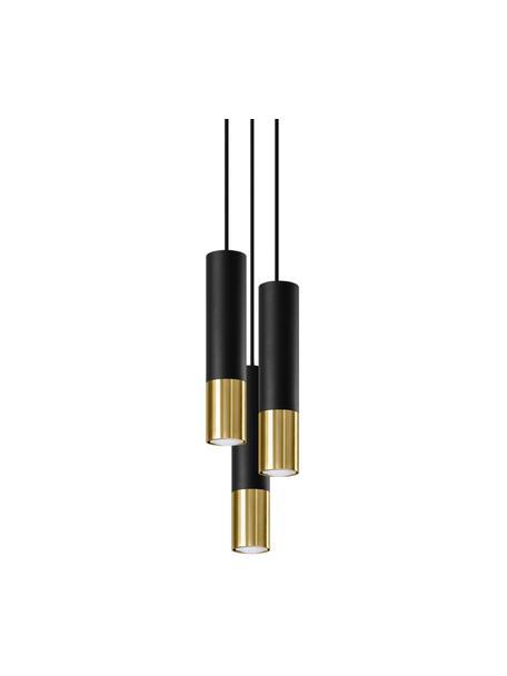 Lampada a sospensione nera-dorata Longbot, Paralume: acciaio rivestito, Baldacchino: acciaio rivestito, Nero, dorato, Ø 15 x Alt. 30 cm