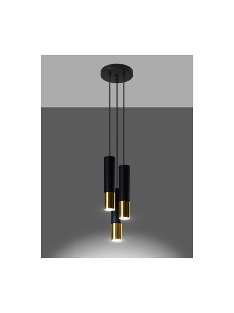 Kleine cluster hanglamp Longbot in zwart-goudkleur, Lampenkap: gecoat staal, Baldakijn: gecoat staal, Frame: zwart gelakt eikenhout. Voet: goudkleurig, Ø 15 x H 30 cm