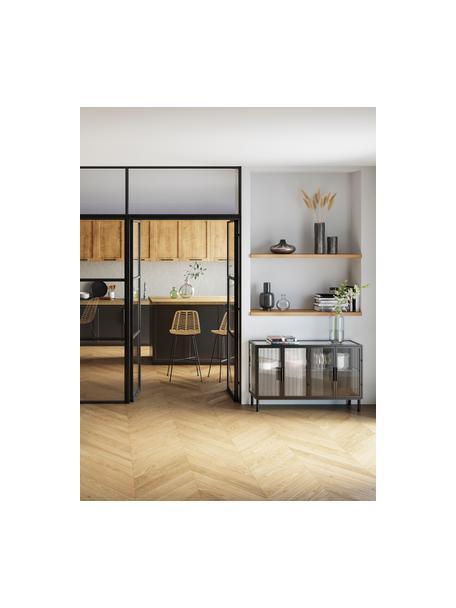 Aparador de vidrio y metal Markus, Estructura: metal recubierto, Negro, transparente, An 120 x Al 76 cm