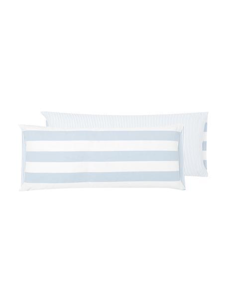 Funda de almohada de algodón Lorena, 45x110cm, Azul claro, blanco crema, An 45 x L 110 cm