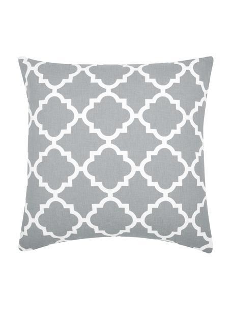 Kussenhoes Lana in grijs met grafisch patroon, 100% katoen, Grijs, wit, 45 x 45 cm
