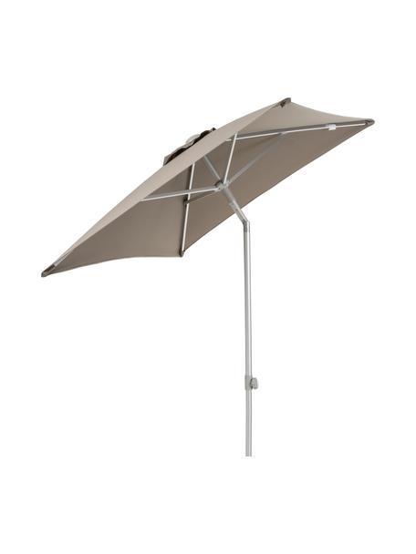 In hoogte verstelbare parasol Elba, knikbaar, Frame en spaken: aluminiumkleurig. Bespanning: taupe, 200 x 250 cm