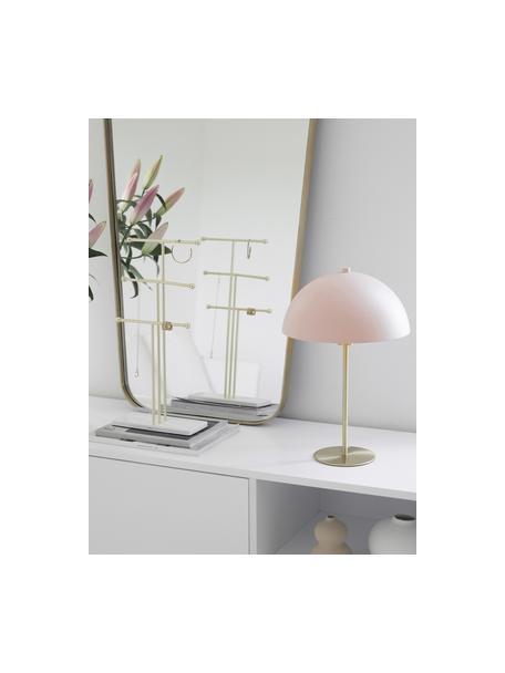 Lampada da tavolo in metallo Matilda, Paralume: metallo verniciato a polv, Base della lampada: metallo ottonato, Rosa chiaro, ottonato, Ø 29 x Alt. 45 cm