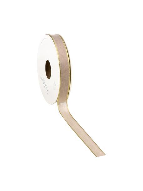 Geschenkband Batiste, 55% Rayon, 45% Polyester, Taupe, Goldfarben, 3 x 1500 cm