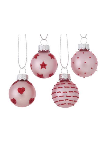Weihnachtskugel-Set Lumi Ø 3 cm, 12-tlg., Rosa, Rot, Ø 3 x H 4 cm