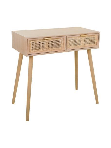 Consola de madera Cayetana, Estructura: tablero de fibras de dens, Patas: madera de bambú pintada, Beige, An 80 x Al 79 cm
