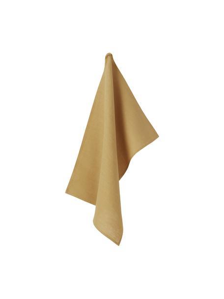 Ręcznik kuchenny z lnu Heddie, 100% len, Żółty, S 50 x D 70 cm
