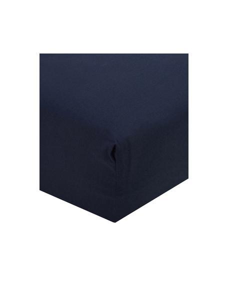 Perkal hoeslaken Elsie in donkerblauw, Weeftechniek: perkal, Donkerblauw, 90 x 200 cm