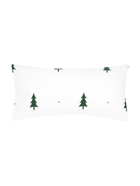 Flanell-Kissenbezüge X-mas Tree mit Tannenbäumen, 2 Stück, Webart: Flanell Flanell ist ein k, Weiss, Grün, 40 x 80 cm