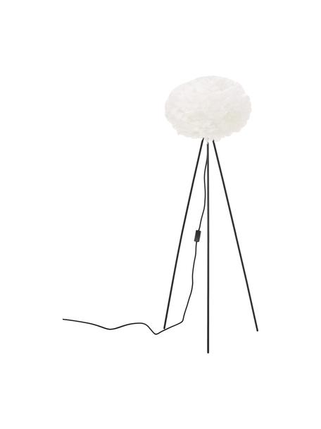 Tripod vloerlamp Eos van veren, Lampenkap: ganzeveren, Lampvoet: gepoedercoat staal, Wit, zwart, Ø 58 x H 140 cm